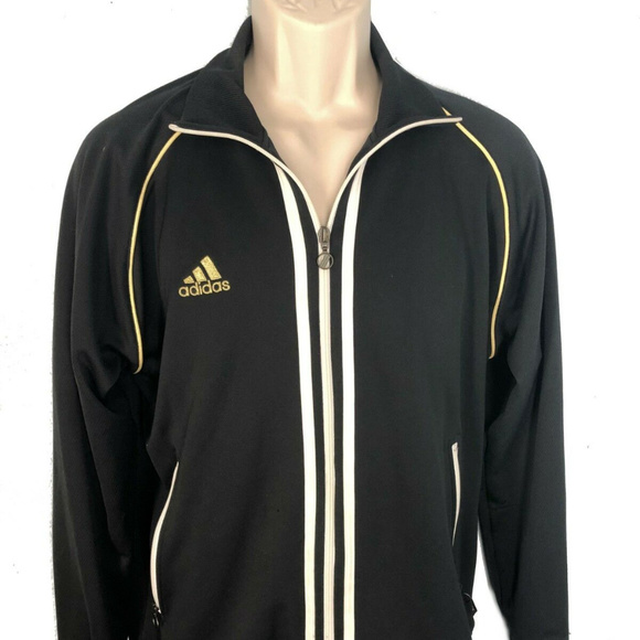 the best attitude 87f12 61c73 adidas Other - ADIDAS Men s Track Jacket M Black Gold Full Zip 74